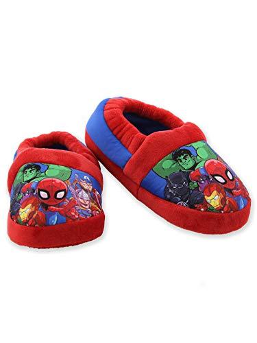 Marvel Super Hero Adventures Avengers Boy's Toddler Plush Aline Slippers (11-12 M US Little Kid, Red/Blue)