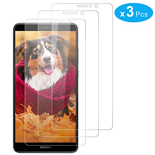 RIIMUHIR Pack De 3 Protectores De Pantalla De Vidrio Templado Huawei Mate 9, Dureza 9H, Anti Huella Digital, Sensibilidad Táctil, Película Transparente HD