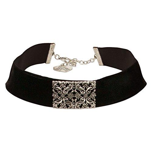 Alpenflüstern Trachten-Samt-Kropfband Ornament-Edelweiß Trachtenkette enganliegend, Kropfkette elastisch, Damen-Trachtenschmuck, Samtkropfband breit schwarz DHK208