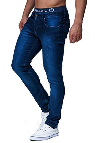 Leif Nelson Herren Jeans Hose Slim Fit Denim Blaue graue Lange Jeanshose für Männer Coole Jungen weiße Stretch Freizeithose Schwarze Cargo Chino Sommer Winter Basic LN301 Blau W30/L30
