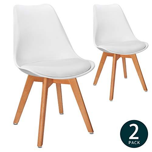 VADIM Weißer Stuhl 2er-Set Holz Tulpenholzstuhl Weißer Küchenstuhl mit Kunstleder Sitzkissen Weiß Esszimmerstuhl X2 Moderner und bequemer Stil