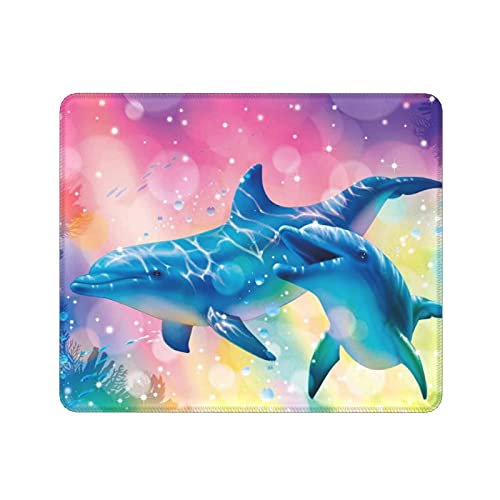 Jumping Dolphin Mouse Pad No-Slip Small Durable Gaming Mouse Mat Thickened Stitched Edges and Rubber Base Underwater World Tropical Fish Turtle Coral Gift Merchandise for Kids Adult(11.8x9.8 inch)