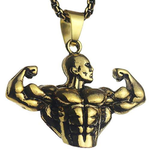 Culturismo Brazo Musculoso Colgante Masculino Hombres Deportes Fitness Collar Oro