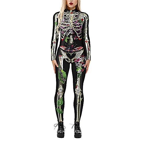 Designs Mujer Disfraz De Halloween Señoras 3D Graphic Impreso Body Zipper Monos Manga Larga Stretch Catsuit Traje Carnaval Cosplay Traje Mono para Halloween,05-S