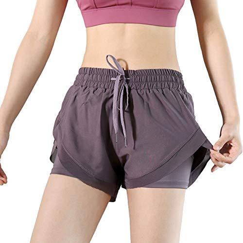 Lixada 2 in 1 Damen Laufshorts mit Hoher Taille und Innenschuh Schnelltrocknender Fitness Yoga Sport Shorts mit Handytasche