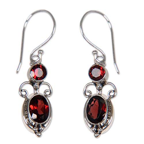 NOVICA Garnet and .925 Sterling Silver Dangle Earrings, Crown Princess' (2.5 cttw)