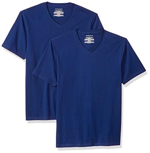 Amazon Essentials – Camiseta con cuello en V para hombre (2 unidades), Azul (Blue Blu), US S (EU S)