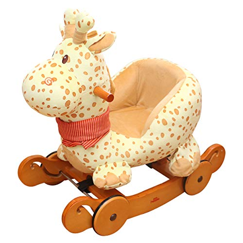 New Baby Rocking Horse, Dual-use Giraffe Wooden Rocker Ride On, Toddler Rocking Horse with Wheel, Pl...