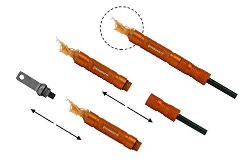 Phone Skope Pyro Putty Compact Ferro Rod - Comes with 2 Foil Packs of Putty Putty (Summer and Winter) & a Multitool Striker (Compact Ferro Rod Orange Kit)