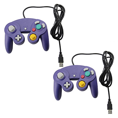 2 Gamecube Style USB Wired Controllers compatible for Emulator PC and Mac-Classic Nintendo GC Gamecube PC Wired Gamepad by MarioRetro - Purple