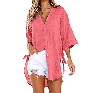 Women's Casual Button Down Plus Size T-Shirt Summer Loose Cotton Linen Blouse