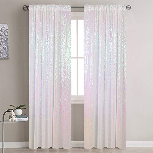 Sequin Curtains 2 Panels Iridescent White 2Ftx7Ft Sequin Backdrop Curtain 84In Lenght Glitter Wedding Backdrop Party Backdrop Curtain Payette Sequin Curtain PhotoBackdrop for Christmas Decorations