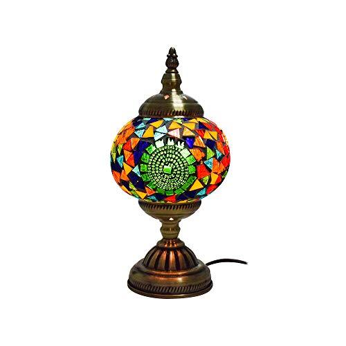 Turkse Marokkaanse Lamp Mozaïek Stijl Handgemaakte Glas Globe Lamp met Metaal Bronzen Basis, Multi kleuren Unieke Mood Lamp Nachtlampje voor Slaapkamer Restaurant Coffee Party Decoratie