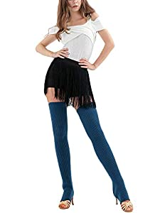 """Material of these long adults leg warmers:Acrylic and cotton. Super warm and comfortable. Length:75cm/29.5"""", over knee high stretchable socks fit most of people. Colors:Black, grey, white, purple, cyan, red, navy, pale blue, nude pink and light purpl..."""