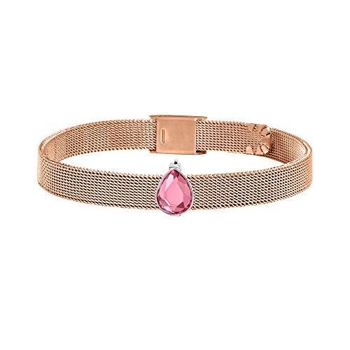 Morellato Bracciale da donna, Collezione Sensazioni, in acciaio, pietra, oro rosa PVD - SAJT69