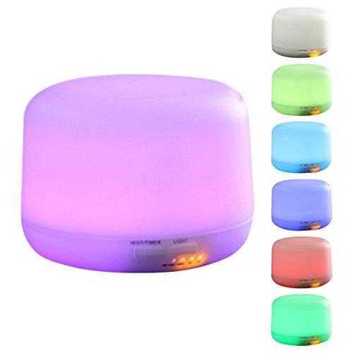 ELEGIANT - Diffusore per aromaterapia, lampada d\'atmosfera, umidificatore a ultrasuoni con aroma, portatile, 7 luci Led, diffusore di oli essenziali, 300 ml, per spa, yoga, casa, ufficio