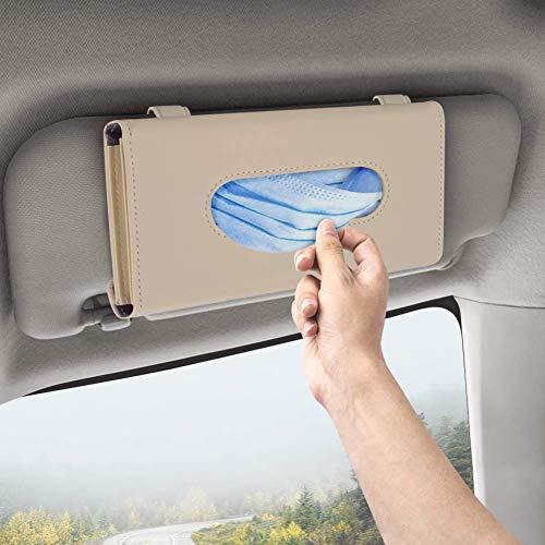 DZG Car Visor Mask Holder, Mask Storage Box, Mask Storage Case Can Fill 20-30 Masks, Car Tissue Holder, Sun Visor Napkin Holder, Paper Towel Box Made of PU Leather,1 Pack (Beige)