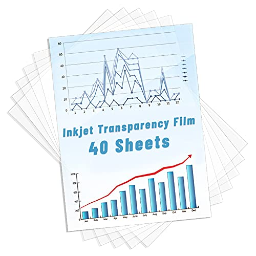 Inkjet Transparency Film 40 Pack, Shynek Clear Transparency Photo Paper Print...