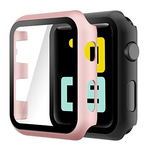 Hianjoo Cover [2-Pack] Compatibile per Apple Watch 38mm Pellicola Proteggi Schermo, Custodia con Vetro Temperato per Compatibile con Apple iWatch 38mm Series 3/2/1 - Oro Rosa, Nero
