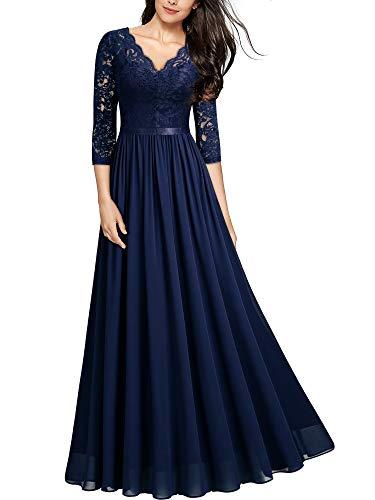 MIUSOL Abendkleider Damen Elegant Vintage Hochzeit Spitze Chiffon Faltenrock Prom Langes Kleid Navy Blau L