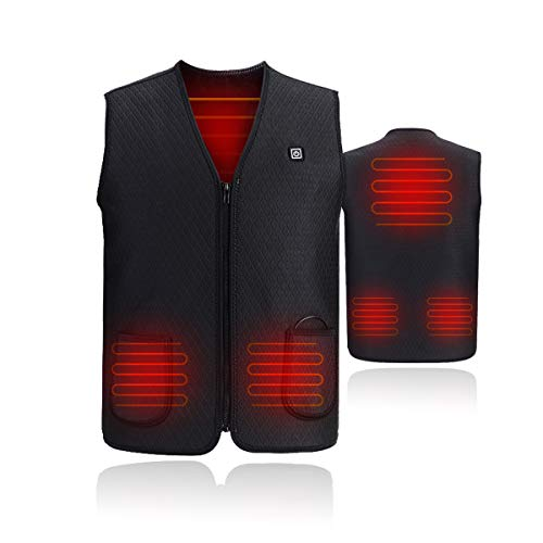 VIEKUU Beheizte Weste USB Lade Elektrische Beheizte Kleidung Heat Jacke für Frauen Männer Warme Waschbar Heizweste mit 5 Heizzonen (L)