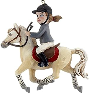OTS Young Equestrian Horse Rider (White Horse) Christmas Ornament