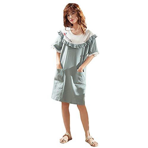 LEYUANA Camisón para Mujer, de algodón de Manga Corta sobre la Rodilla, Estilo Coreano Sexy, Pijamas de algodón Dulce y Lindo Que se Pueden Usar Fuera de XXXL D1353