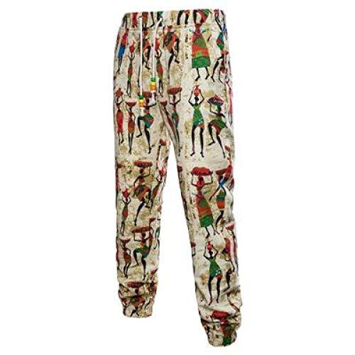 Katenyl Pantalones Harem con Estampado de Tendencia Retro Masculina, Moda de Talla Grande con Personalidad, cómodos Pantalones de Calle cónicos de Todo fósforo M