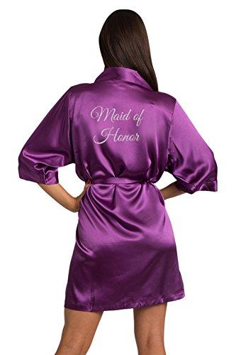 Zynotti Women's Glitter Print Maid of Honor Wedding Kinomo Eggplant Satin Robe L/XL 14-20