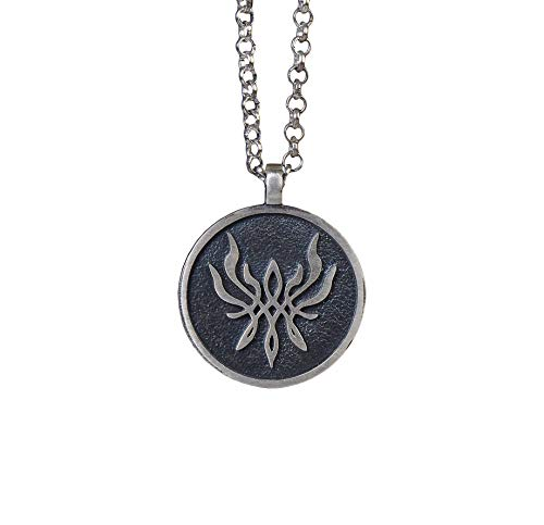 925 Sterling Silver Fire Emblem Crest of Flames Three Houses Pendant Necklace