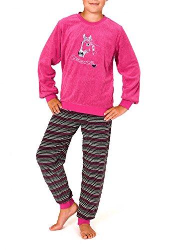 Normann Süsser Mädchen Frottee Pyjama lang mit Bündchen und Pferde Motiv - 57392, Farbe:pink;Größe:110
