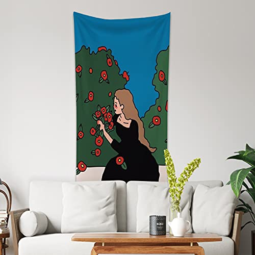 NTtie Tapiz de Fractal para Dormitorio Sala de Estar Paño de Fondo de decoración de Pared Minimalista Lindo Femenino
