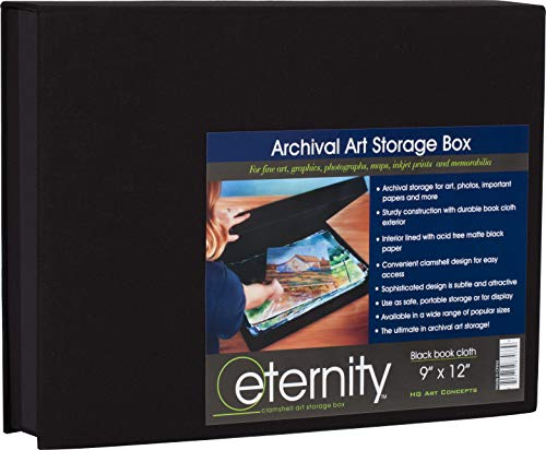 """HG Concepts Art Photo Storage Box Eternity Archival Clamshell Box for Storing Artwork, Photos & Documents Deluxe Acid-Free Sturdy & Lined with Archival Paper - [Black - 9"""" x 12""""]"""