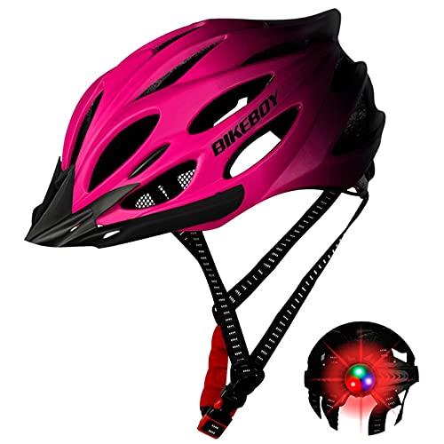 Fahrradhelm Herren Damen MTB Rennrad Mountainbike Sport Schutzhelm Farbverlauf Farbe mit LED Rücklicht Jungen Bike Helmet (Rosa)