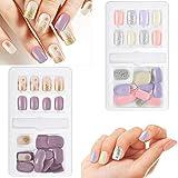 60 Pieces False Nails Artificial Fake Short Fingernails Nail Tips Kit 12 Sizes