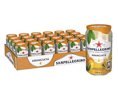 Sanpellegrino | Orangen Limonade | Aranciata | Hoher Fruchtanteil 20% frisch gepresster Orangen | Leicht herbe Geschmacksnote | Ideal für unterwegs | 24er Pack (24 x 0,33l) Einweg Dosen