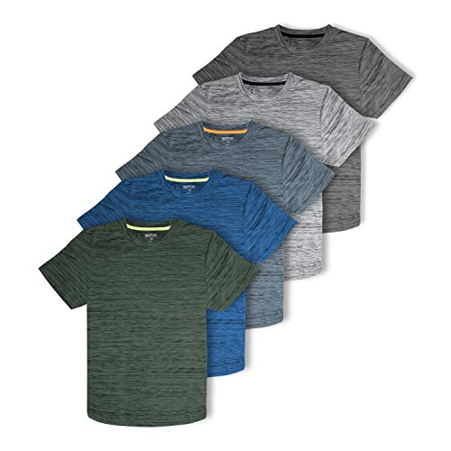 [5 Pack] Men's Dry-Fit Active Athletic Performance Crew Neck T Shirts - Running Gym Workout Short Sleeve Quick Dry Tee Top (Set 2, Large)