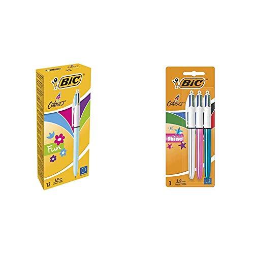 BIC 887777 4 Fun bolígrafos Retráctiles punta media (1,0 mm) – Celeste Pastel, Caja de 12 unidades + 4 Shine Bolígrafo Retráctil punta media (1,0 mm) – Metálicos Surtidos, Blíster de 2+1
