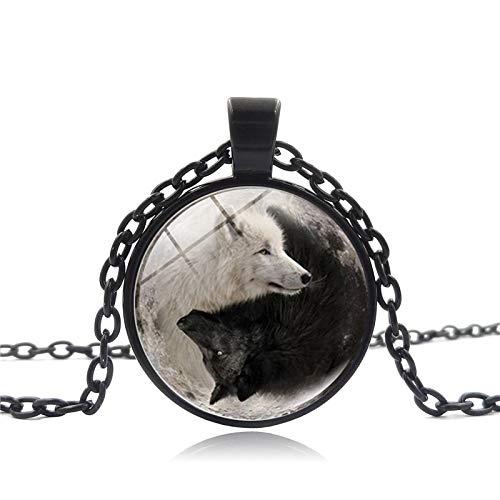 GYXYZB Accessoires Yin Yang Zwart en Wit Wolf Tai Chi Ketting Tijd Gem Ketting Lange