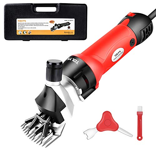 TOLYS 500W Electric Sheep Shears, Portable Sheep Clippers with 6 Speed,Electric Goat Shears for Sheep Goat Llama Horse Alpacas Thick Coat and Heavy Duty Animals Hair Fur Grooming