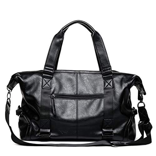 Bolsas de viaje de cuero para hombre de gran capacidad, bolsa de viaje, bolsa de viaje para hombre, bolsa de viaje para hombre y mujer, color negro, tamaño: 44 x 14 x 33 cm