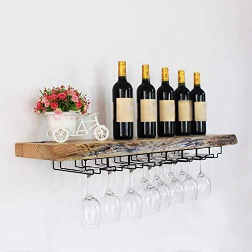 Estante del vino, de la novedad decoración de la pared del estante, estante del vino estante de vidrio montado en la pared colgante de madera for copas Bastidores Loft estante de la pared con la cesta