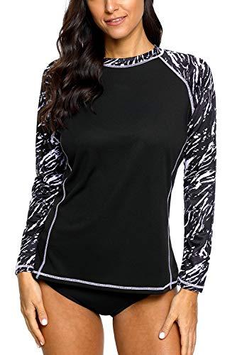 CharmLeaks Rashguard for Women SPF Rash Guard Swim Shirts Long Sleeve Swimsuits Uv Swim Top XXL