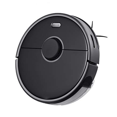 TJQTJQ Robot Aspirapolvere, WiFi App Controllo Automatico Sweep polveri Sterilizzare Intelligente Planned Lavaggio Mopping Robot per Capelli Pet Tappeti rigidi Piani,Nero