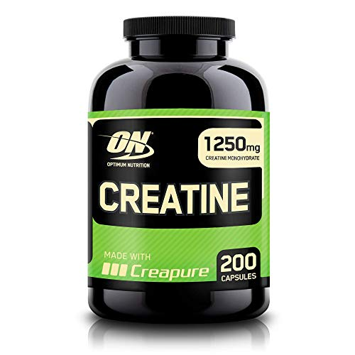 Optimum Nutrition 2500mg Creatin Kapseln, Creatin Monohydrat Kapseln Creapure für Muskelaufbau von ON, Unflavoured, 100 Portionen, 200 Kapseln