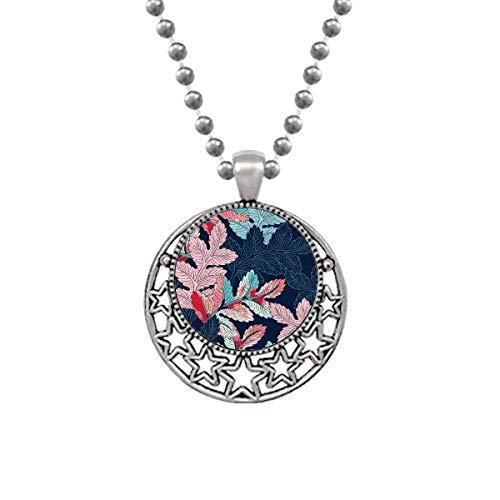 Beauty Gift Colar de folhas em pó com pingente retrô e estrelas da lua