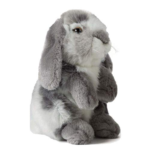 Living Nature AN345G Soft Toy-Plush Pet Sitting Lop Eared Rabbit, Grey (19cm)