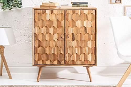 Casa Padrino Designer Barschrank Naturfarben 76 x 46 x H. 89 cm - Moderner Massivholz Weinschrank mit 2 Türen - Barmöbel