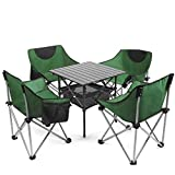 Möbel-Sets faltbare Gartenstühle, Outdoor Camping Stuhl Set, Familien-Partei Stühle und Tisch-Set, 1 Tabelle 4 Stühle Kinder Erwachsener Picknick-Tisch (Farbe: Grün, Größe: 4 Stuhl + 1 * Tabelle) WKY
