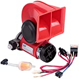 FARBIN Compact Air Horn with Compressor Snail Electric Car Horn 12V 150db Super Loud Nautilus Wiring Harness for Any 12V Vehicles (12V, red)